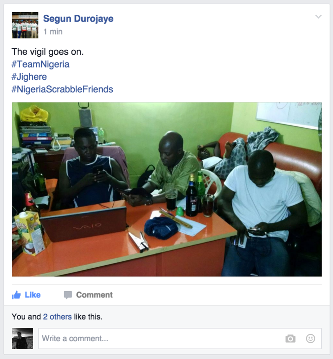 Nigerian Scrabble players cheering for their countryman!